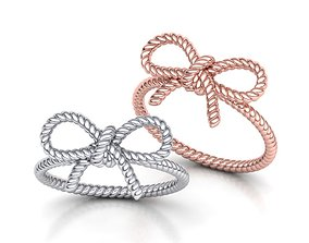 Bow Knot Rope style Ring 3dmodel jewelry