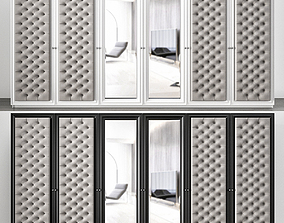 3D model Large 6 Door Button Upholstered Fitted Wardrobe