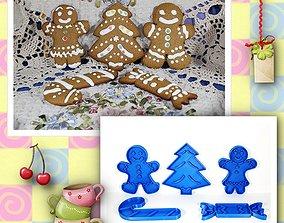 Gingerbread man and girl Christmas tree 3D print model