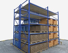 3D model low-poly Warehouse Rack