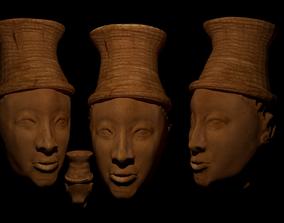 IFA terracotta head Nigeria Low-poly 3D model animated