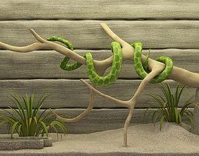 3D model snake in the terrarium
