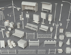 Street Elements - Part - 3 - 39 pieces 3D model