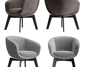 3D furniture Minotti Russell Little Lounge Fixed Armchair