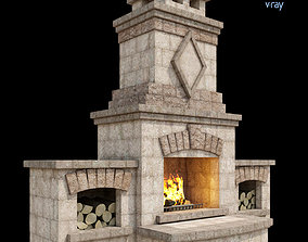 Outdoor Fireplace 003 3D model