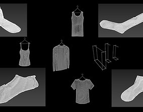 3D model 15 hanged clothes collectionsocks woman