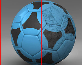 3D model Soccerball blue black