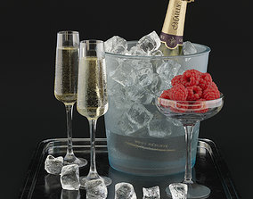 Champagne with raspberries 3D model