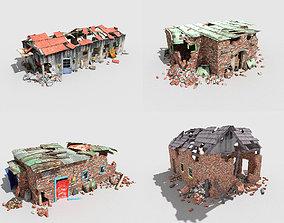 3D asset 4 destroyed buildings pack 1