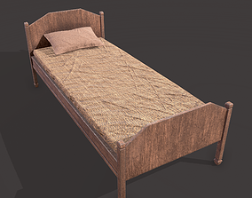 Medieval Single Bed 3D asset