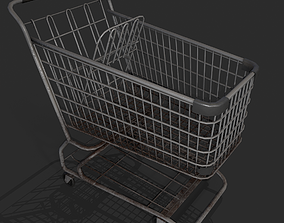 Realistic Pbr rusty shopping cart 3D model