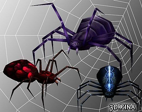 3D model Animated Spiders Pack