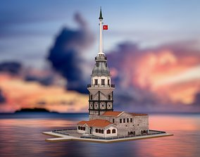 3D Maidens Tower Istanbul