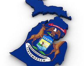 Michigan Political Map 3D model
