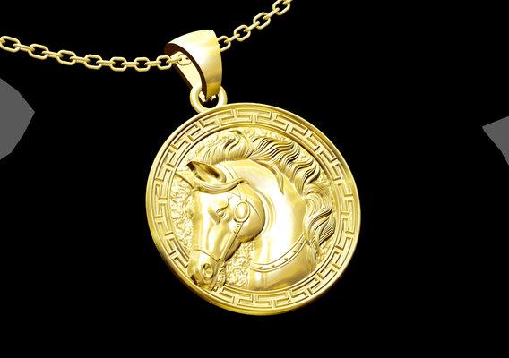 Horse Head Medallion Pendant jewelry Gold 3D print model