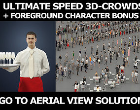 3d crowds and Romance with Champagne Foreground Waiter