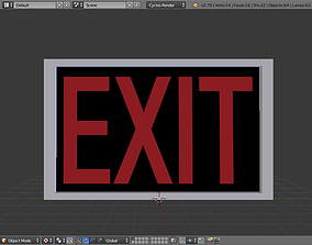 Exit Sign 3D asset realtime