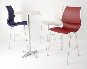 Knoll Gigi Barstool and Table 3D