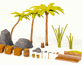Tropical Island Survival Kit 3D model realtime