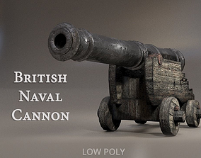 3D model British Naval Cannon PBR
