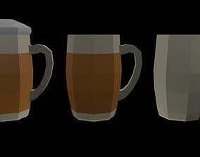 Low Poly Beer Mugs 1 3D asset