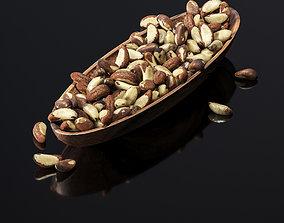 3D asset Brazil nuts in a wooden nut bowl