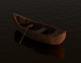 3D asset Stylized Wooden Boat