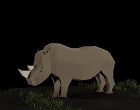Low Poly Rhinoceros 3D asset
