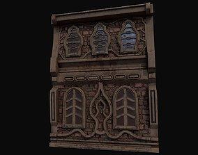 Low poly fantasy medieval building facade 3D model