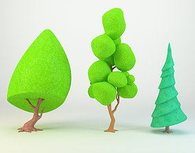 rigged Cartoon tree for game 3d model Low-poly