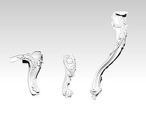 Furniture legs set of 3 pcs 3D printable model