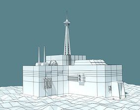 3D model Low Poly Cartoony Sci Fi Building 2