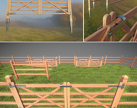 3D model Low-Poly Pine Wood Fence with Animated Door