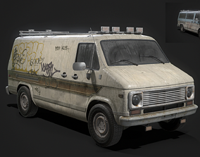 3D asset Vintage Van Set PBR Game Ready