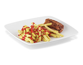 Steak with french fries 2 3D model