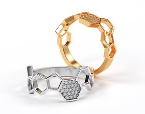golden bee honeycomb ring with diamonds 3D printable model