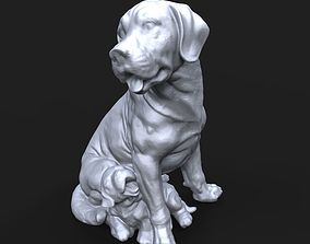 Broholmer with a puppy 3D print model