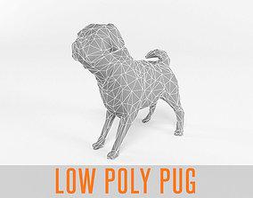 3D model Pug Low Poly Mammal Dog Animal Lowpoly