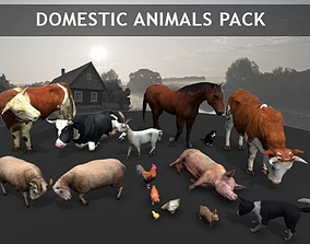 3D model animated Domestic Animals pack