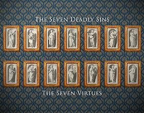 Seven Deadly Sins - Seven Virtues - antique wall 3D model