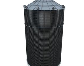 3D model low-poly Grain silo2