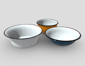 Enamel Bowl Set 3D model