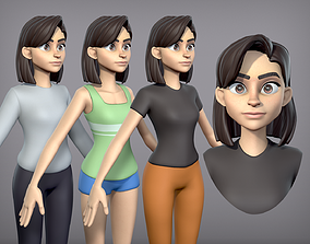 3D model Cartoon Girl with 3 outfits
