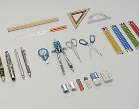 3D asset School supplies Mega Pack
