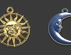 stars 3D print model Sun and Moon 3 pendants