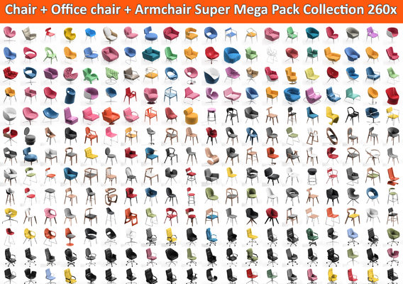 260 Chair and Office Chair and Armchair Mega Pack Collection