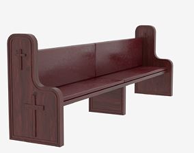 Church Pew Bench 3D model realtime