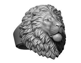 3D print model Calm Lion animal head ring jewelry