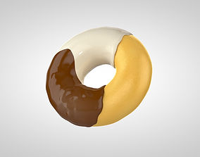 Dark and white chocolate doughnut 3D model
