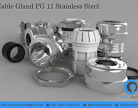 Cable Gland PG 11 Stainless Steel 3D model